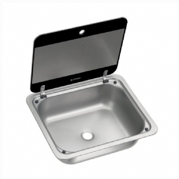DOMETIC SNG 4133 SQUARE SINK WITH GLASS LID, 410 X 335 MM